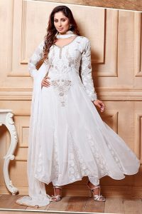 White Anarkali Frock Suit